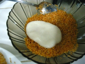 Coating with the toasted coconut and sesame seeds mix